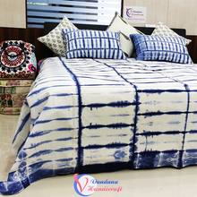 Indian Bed Sheet cover Blue Color Handmade Tie Dyed Handmade Cotton Jaipuri Bed Sheet 2 Pillow Set