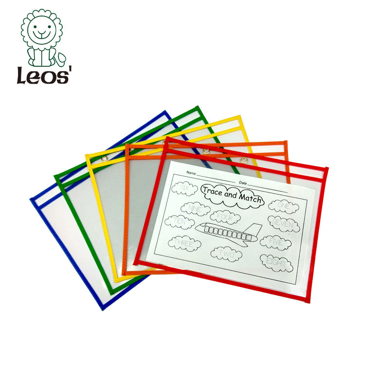 school learning PVC a4 horizontal dry erase pocket