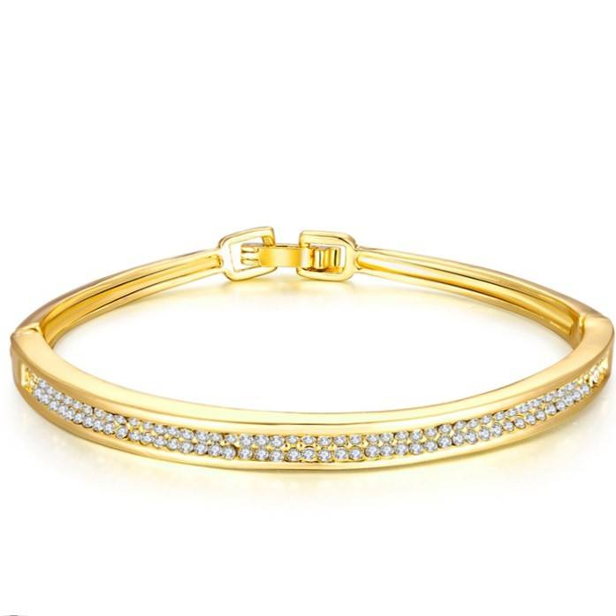 14K Yellow Gold Real Round Cut Diamond Party Wear Bangle Bracelet At Best Offer