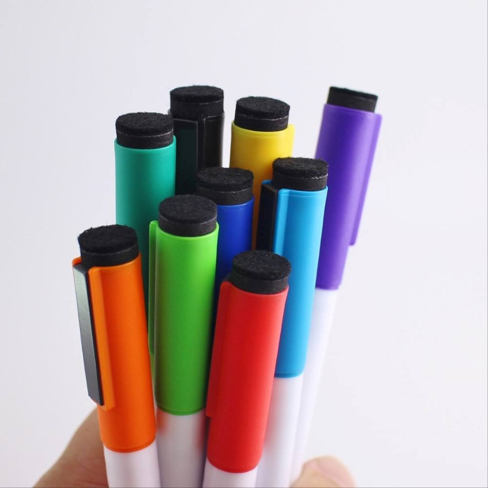 Easy wipe dry erase colored ink promotional whiteboard marker with clip