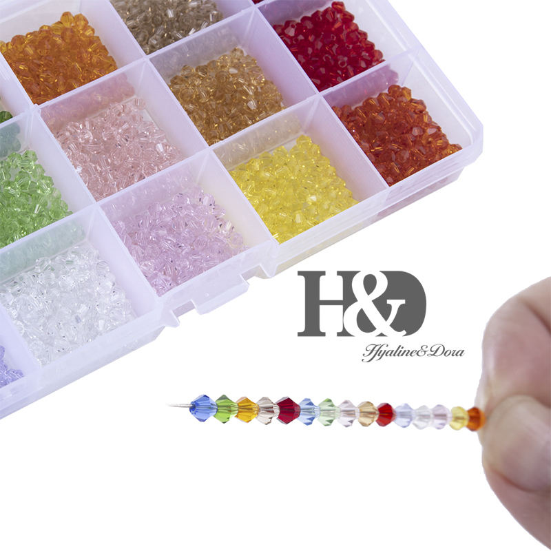 H&D 1800Pcs 4mm Crystal Beads for DIY Jewelry Making 15 Colors Faceted Spacer Beads with Container Box