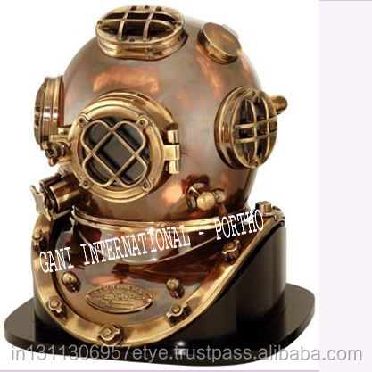 New In Box Table Top Decor Each Copper//Brass Divers Helmet On Wood Base