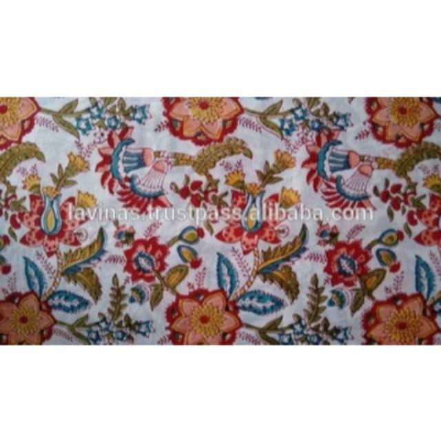 Indian Sanganeri Hand Block Printed Cotton Floral Sewing Craft Fabric 1 Yard