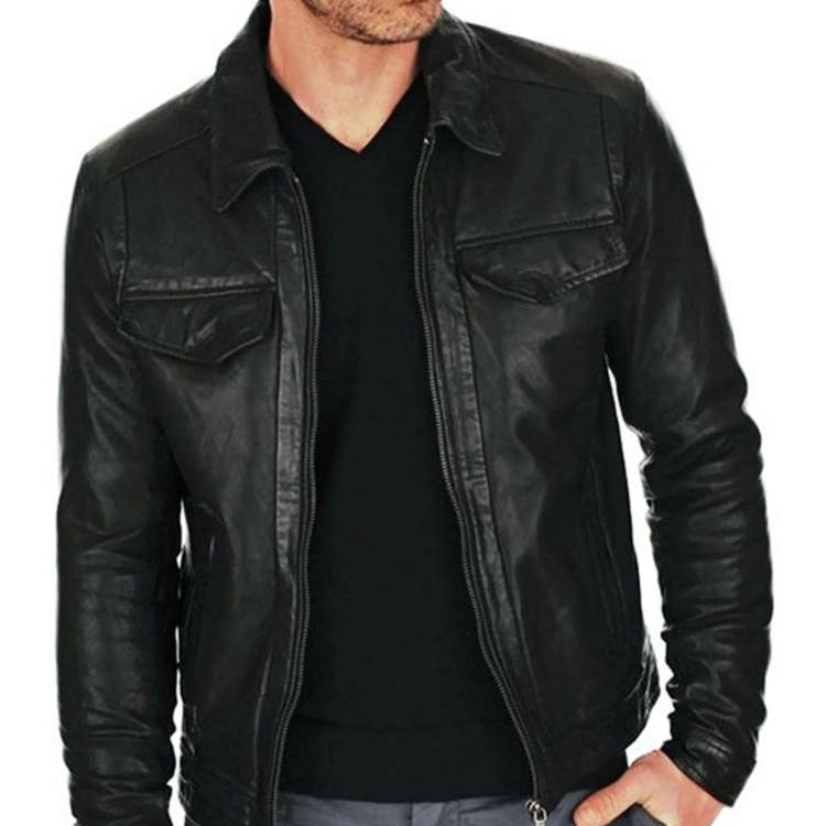 Handcrafted Exports Menss Biker Leather Jacket Short Lambskin Zipper Closure Winter Cover Ups