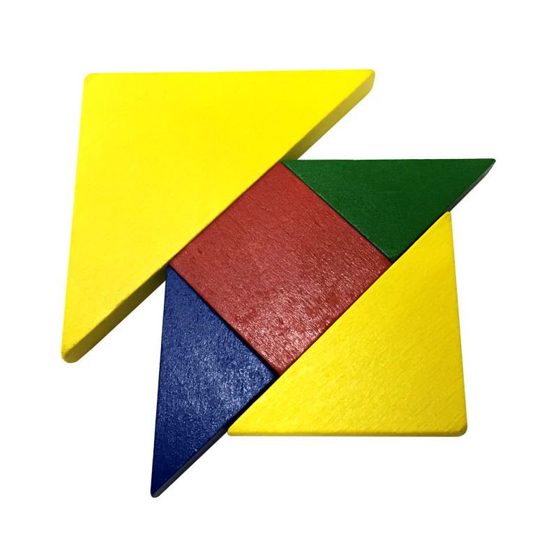 Wood tangram puzzle assorted colors JIGSAW block puzzle 28 pcs school educational training game toy