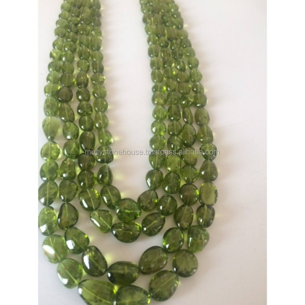 Peridot smooth tumble necklaces wholesale beads