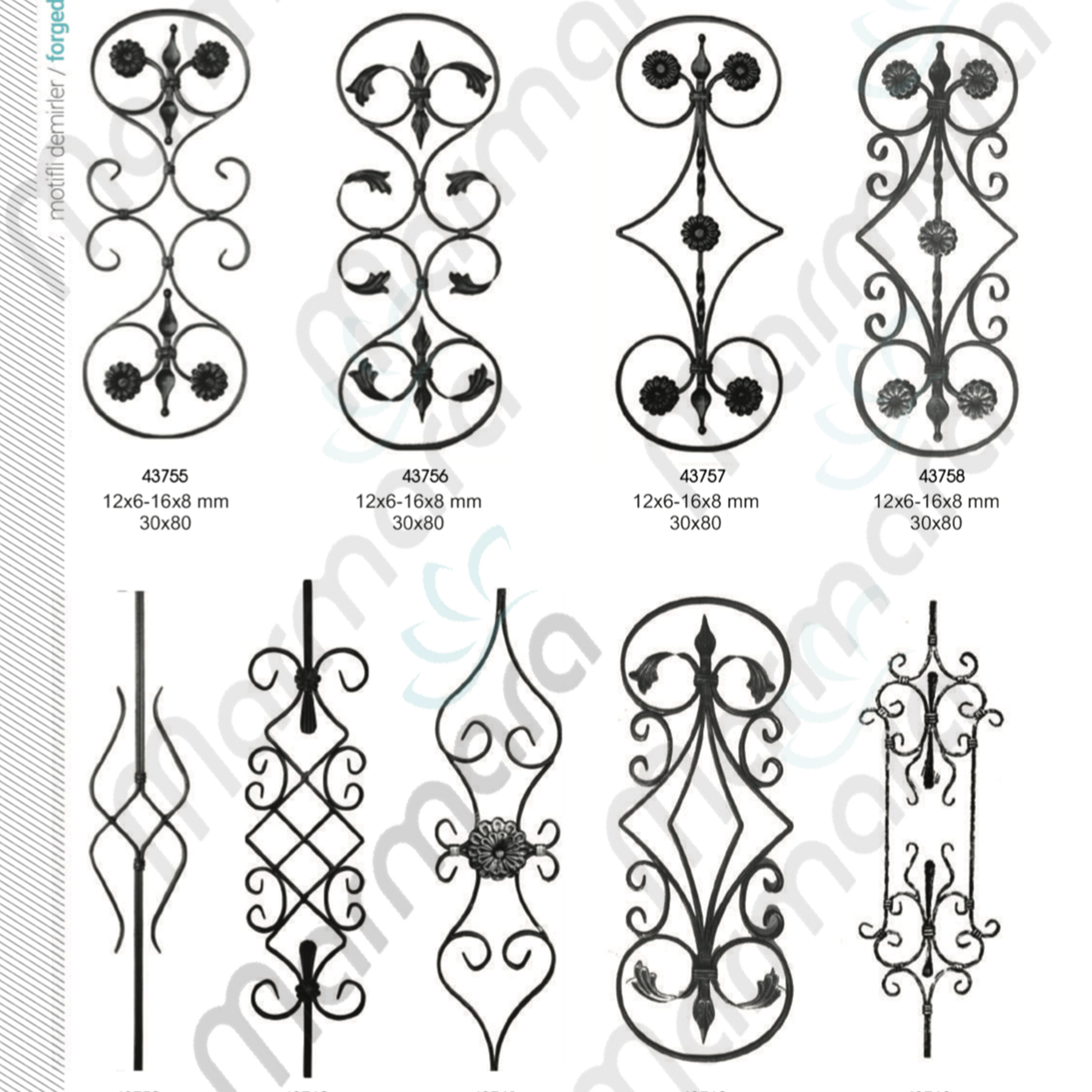 Hot Sale Decorative High Quality Indoor Wrought Iron Balusters Turkish Made Component