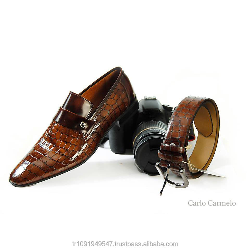 Style africain Fait Main Hommes Robe Chaussures Marron Turquie