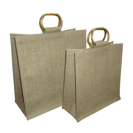 Oval Shape Cane Handle PP Laminated Natural Jute Tote Bag