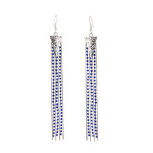 NuMaMe Fashion Earrings Long Dangler with Silver Metal and Blue Zircon