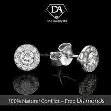 14K White Gold Earrings with Natural Diamond 0.46 total carat IGL Certificate