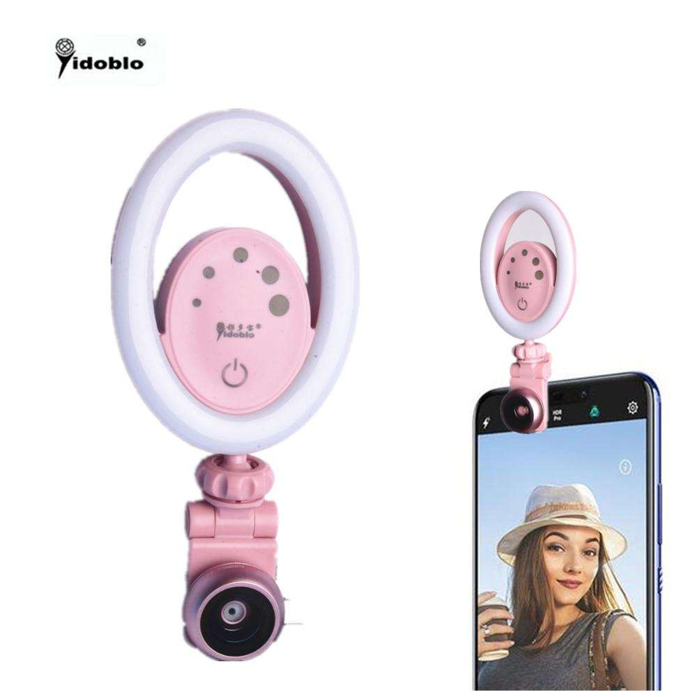Yidoblo DS-06 bi-color Flash LED Selfie Ring Light with lens Mobile Phone Holder for Live Stream and Makeup 5 levels