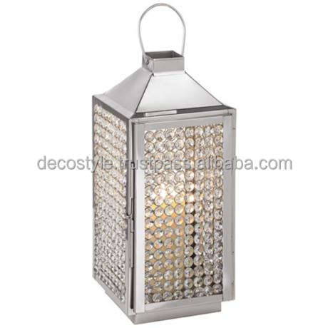 Crystal beads candle lantern