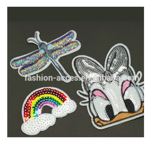 Iron On Embroidered Motif Applique Glitter Sequin Decorative Patches DIY Sew on Patch for Clothing