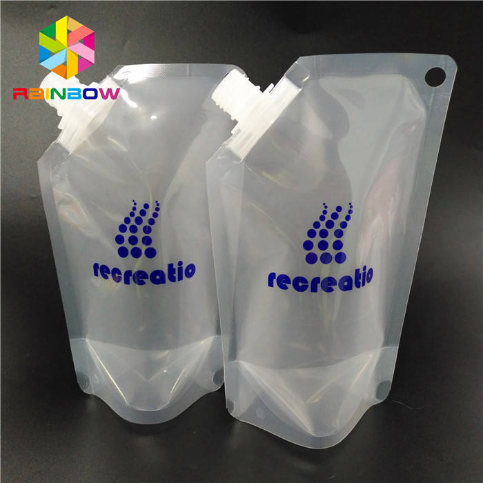 Custom Gravure Printing Plastic Stand Up Liquid Pouches / Plastic Screw Cap Spout Bags Packaging