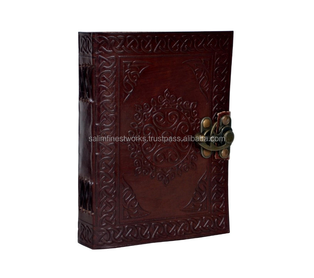 Handmade Celtic Tooled Leather Beautiful Blank Journal Diary Sketch Notebook Book Brown Leather Journal