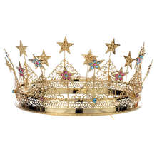 Stars And Colored Strass Golden Brass Crowns