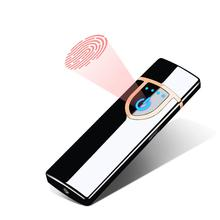 USB Charging Heat Coil Lighter, Creative Metal Windproof Electronic Fingerprint Induction Cigarette Lighter With LED