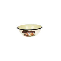 Enamel Coated Mixing Bowl 1.5L Salad Catering Beige Mushrooms