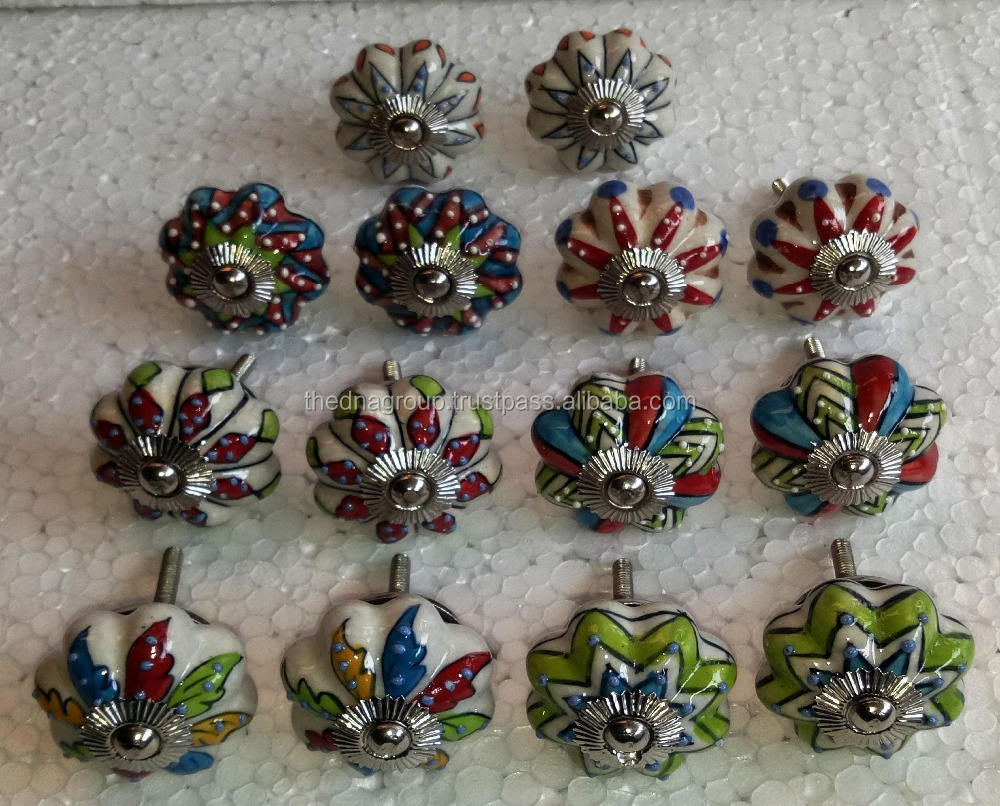 High quality indian hand painted embossed multi color mix design pumpkin shape silver fitting fancy ceramic door knob