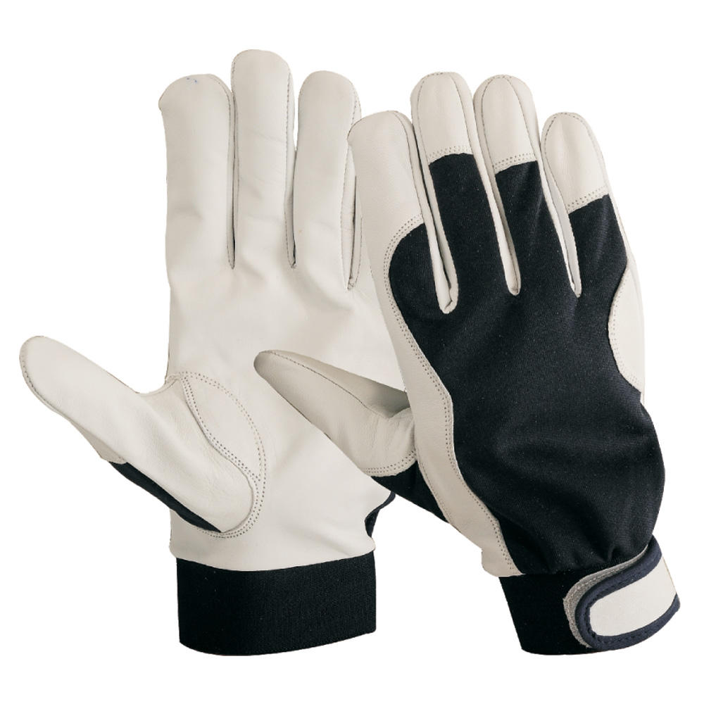 Goat Skin Leather Driver Work Gloves with Black Cotton Fabric Back