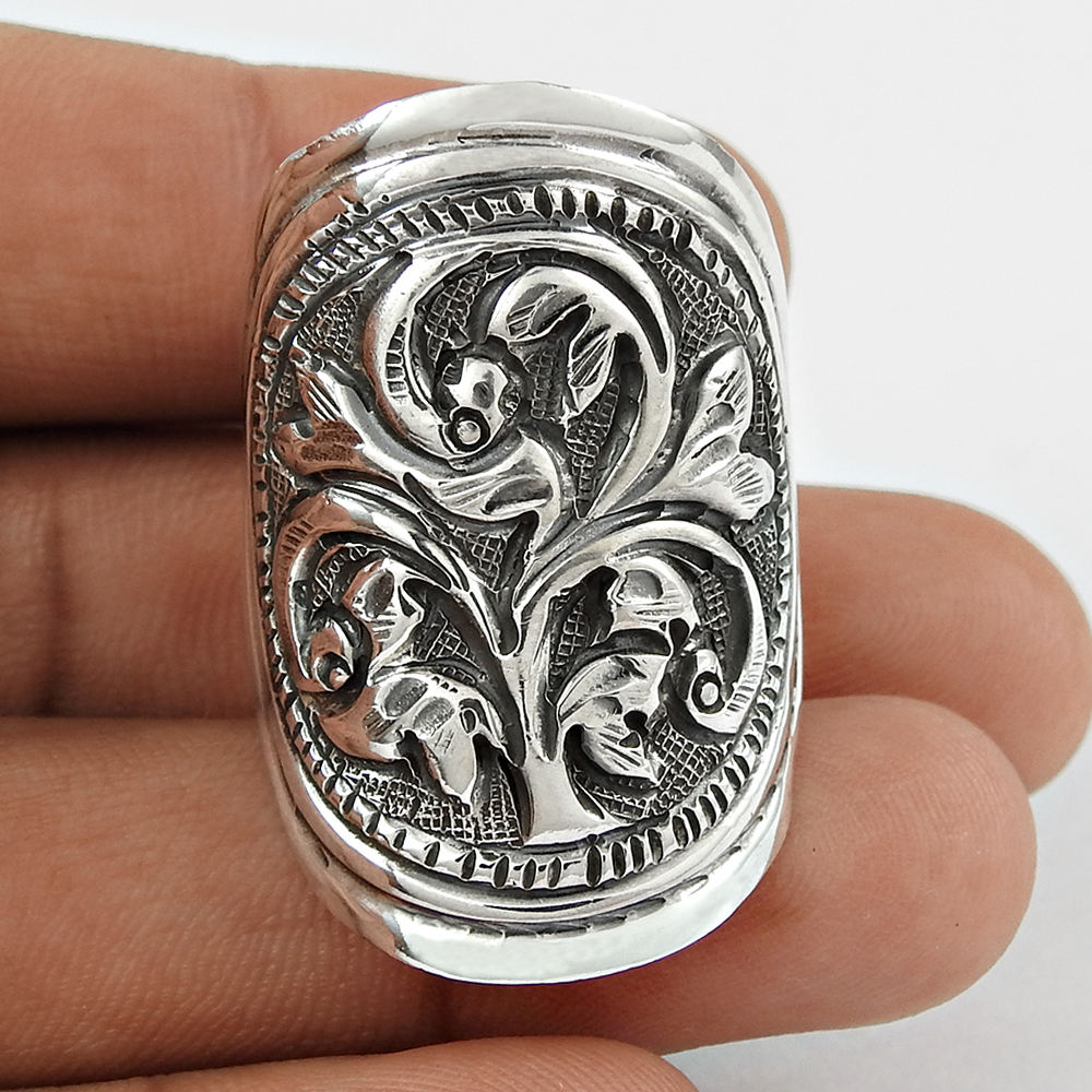 Antique carved design bent ring wholesale 925 sterling plain silver jewelry oxidised rings supplier