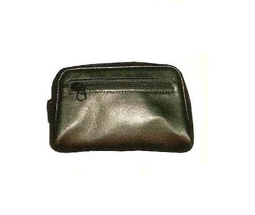 Vinyl Lined Zip Closure Pocket Black Color Genuine Leather Tobacco Pouch