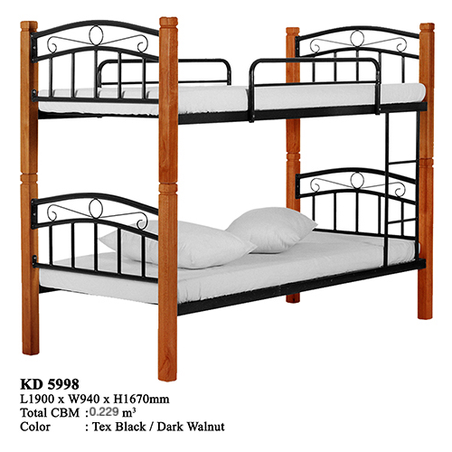 Antique Wooden Metal Domica KD-5998 Solid Wood Double Decker Bunk Bed Malaysia