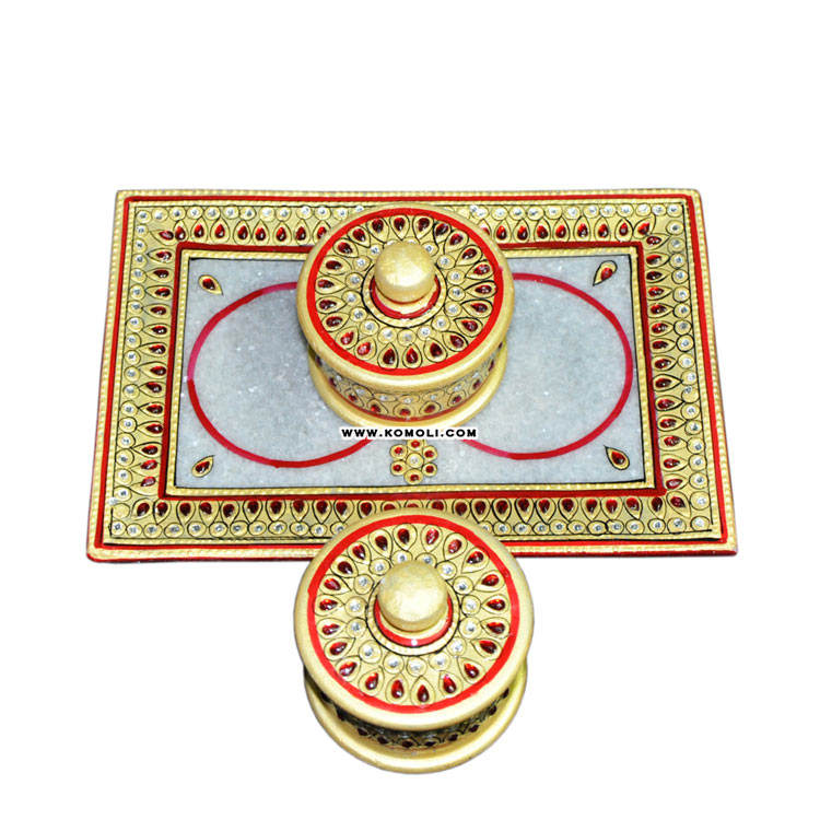 Kundan work handmade tray & dry fruit container marble items indian wedding return gift