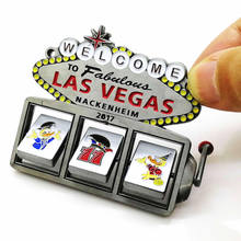 New design gift trend Las Vegas enamel logo antique solid metal craft for tourist