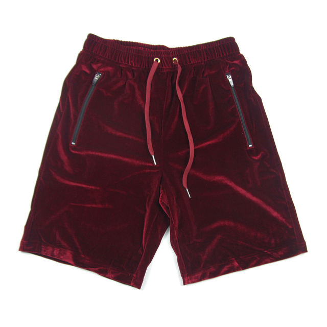 NEW Velvet Design loose Summer Hip Hop cool Elastic Waist Black wine red Shorts Casual High Street mens shorts