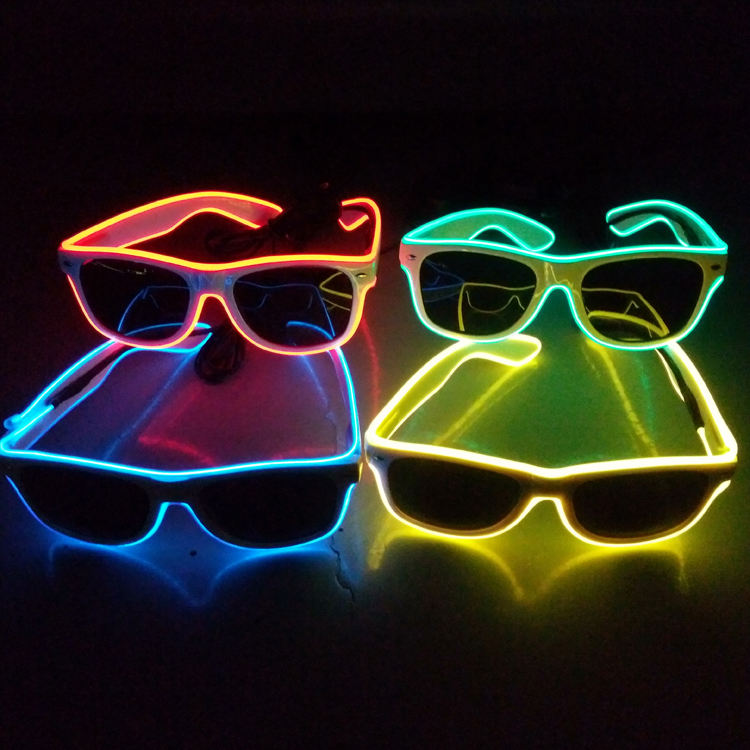 Bar Party DJ Hot Props Eyewear Shade Luminous LED Neon EL Wire Glasses Flashing Blink Sunglasses