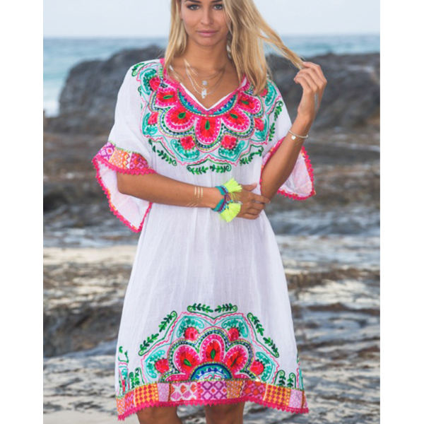 Hot Selling Summer Lady Boho Mandala Dream Embroidered Women Tunic Classic Range Sexy Lace Hem V Neck Beach Cover Up Short Dress