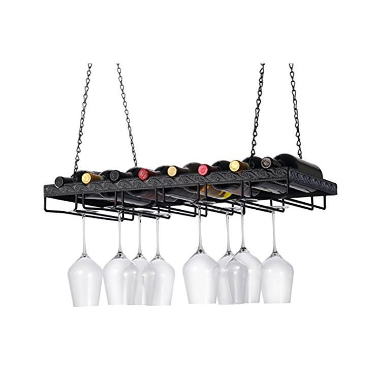 Frame Wrought Iron Hanging Wine Rack with Wine Glass holder
