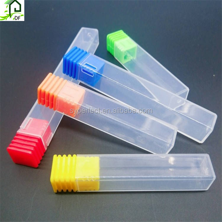 10*10mm Square Length 90MM Transparent Plastic Cutter Box Plastic Tube With End Cap