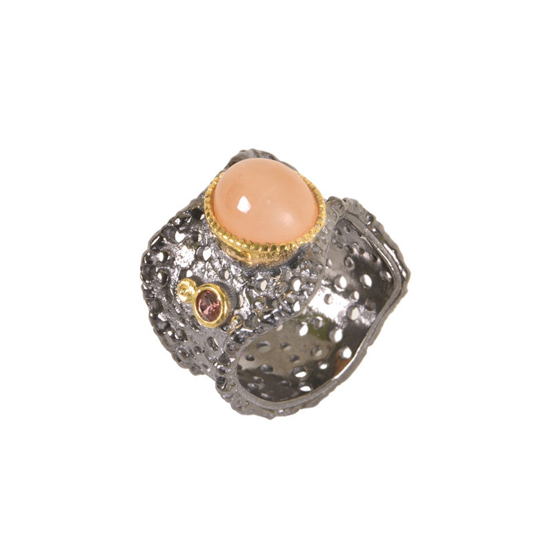 New Designer Gold Plated two tone Jewelry 925 Sterling Silver Pink Moonstone and Garnet Black Rhodium Plated Ring
