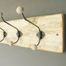 3 wooden coat hangers , Wall Mounted Ceiling Vintage Coat Hook With Ceramic Knobs