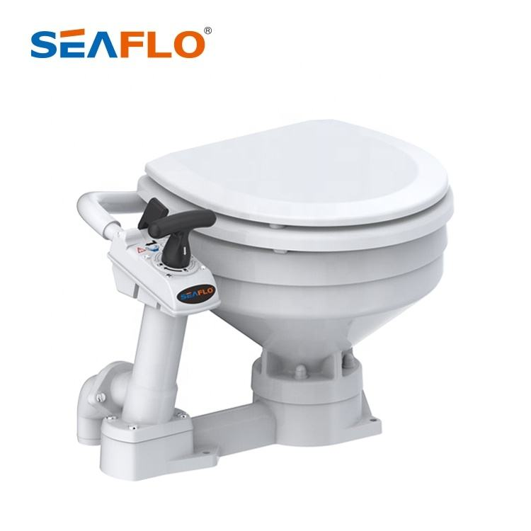 SEAFLO Ceramic bowl, wood seat powerful swirl action manually operated marine toilet for boat