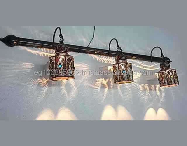 BR298 Half Pipe Brass Vanity Lighting with 3 Shades