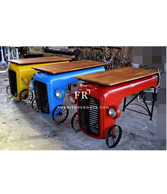 Automobile Tractor Design Console Table Industrial Recycled Event Catering Display Furniture