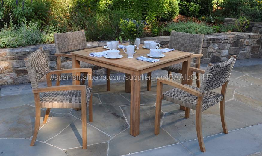 TECA mesa de comedor muebles de mimbre al aire libre muebles de ratán sintético