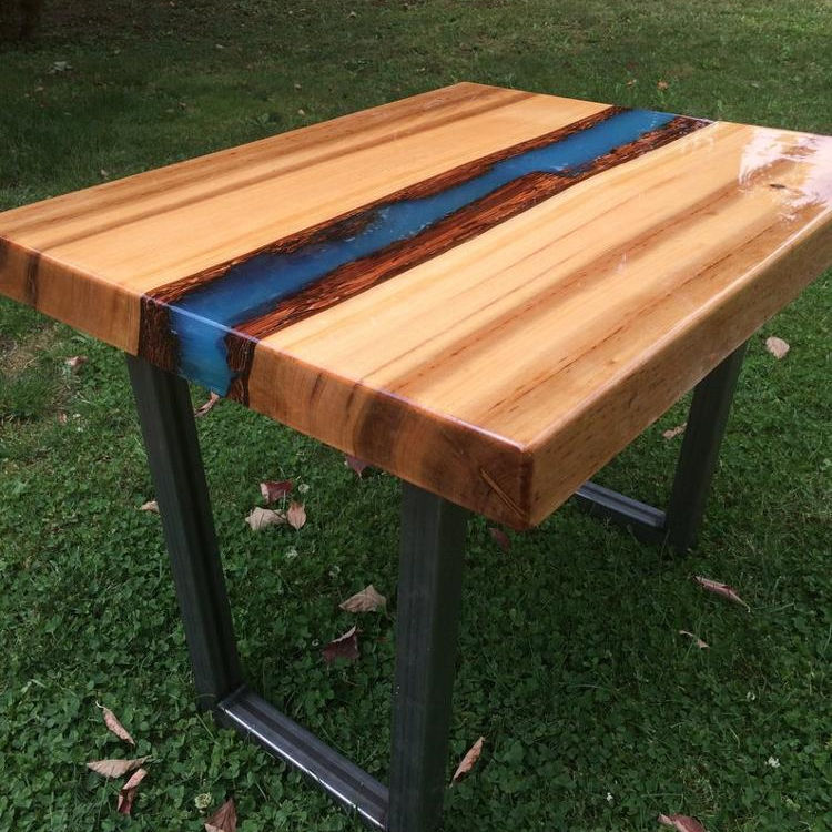 Luxury Epoxy Resin Acacia wood Coffee Table/Side Table With Metal Leg