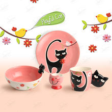 High Quality Tableware Funny Cat Breakfast Set Plates print Ceramic Set