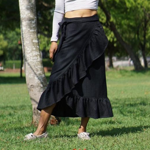 Indian new clothing manufacturers 100% cotton fabric bottom ruffled Back Plaid Wrap fashion Skirt