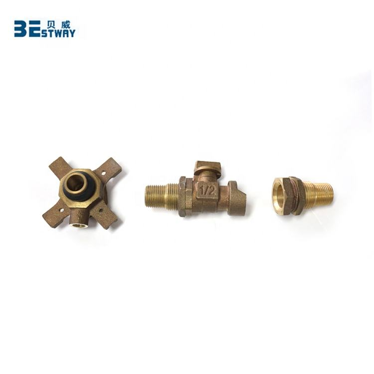 Meter Air Koneksi Adjustable Perunggu Inlet Puting Outlet Nipple dengan Ball Valve Set