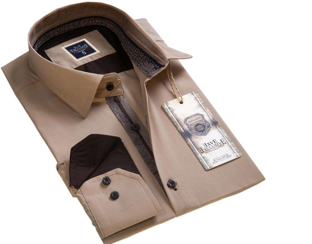 Beige Brown Casual Men Shirt