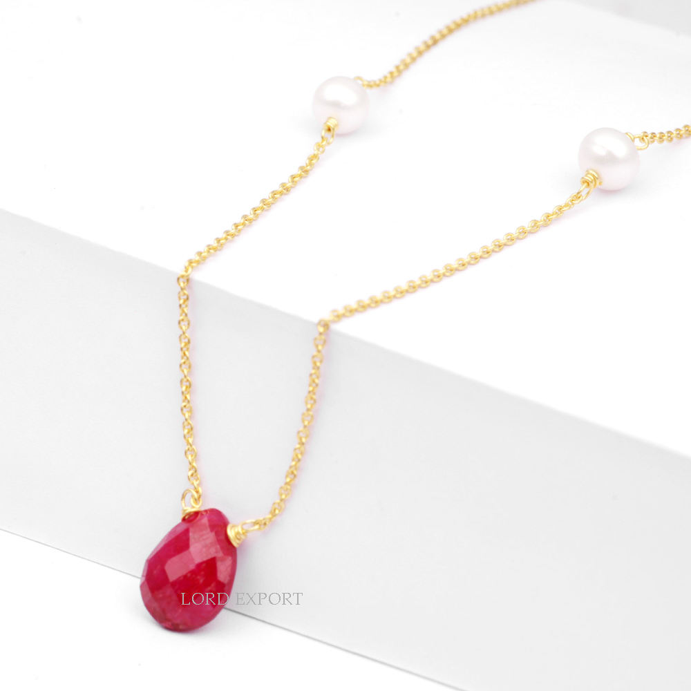 Wholesale Supplier For Dyed Ruby and Fresh Water Pearl beaded Necklace