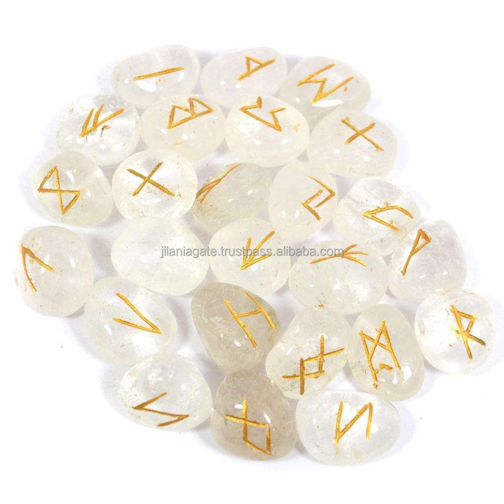 Clear Crystal Quartz Rune Set Tumbled Engraved Rune Sets Wholesale