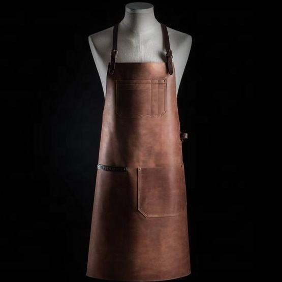 Brown/Black Leather Apron Bib For Chefs/Barbers/BBQ/Kitchen Apron