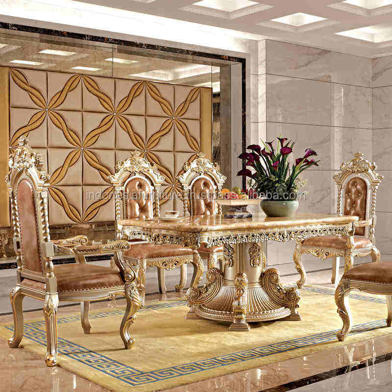 European solid wood dining table and chair combination 6 people home dining table rectangular marble surface dining room